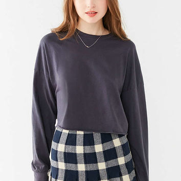 Truly Madly Deeply Long Sleeve Cropped Boy Tee   Urban Outfitters