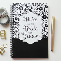 Writing journal, spiral notebook, bullet journal, cute notebook, sketchbook, Wedding gift, blank lined grid - Advice for the Bride and Groom