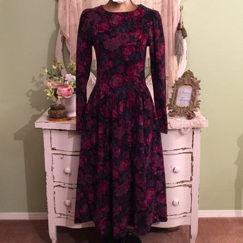Long Sleeve Winter Dress, Modest Dress, Victorian Style Dress, M, M/S, Dark Color Designer Dress, Crew High Neckline, Laura Ashley Dress