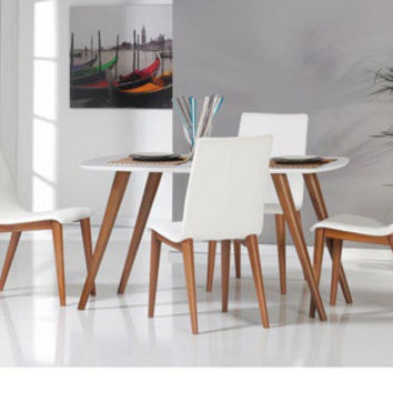 RETRO White, walnut dining table and 4 chairs