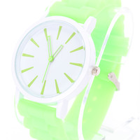 Green Detailed Round Face Rubber Watch