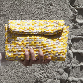 LETTERA HANDWOVEN BAG, YELLOW AND IVORY