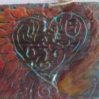 "Original Textured Encaustic Art Painting ""Flaming Heart"" Free Shipping"