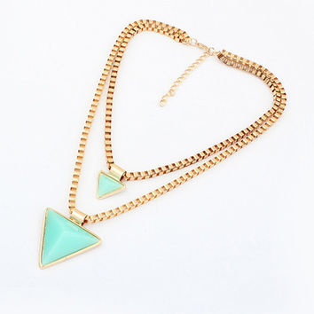 Stone Triangle Pendant Layered Necklace