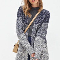 FOREVER 21 Dip Dyed Cardigan Dark Navy/Cream