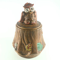 Vintage Owl on Tree Cookie Jar