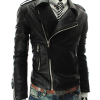 Size M-2XL Red PU Men's Faux Leather Jacket Mens Jackets and Coats Winter Black Blazer Zippers Long Sleeve Motorcycle Coat