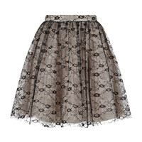 Red Valentino Lace Flare Prom Skirt