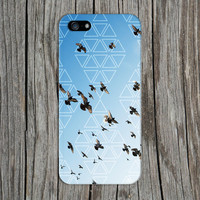 Flocking Blackbirds x White Geometric Triangles Phone Case for iPhone 6 6 Plus iPhone 5 5s 5c 4 4s Samsung Galaxy s6 s5 s4 & s3 and Note 5 4