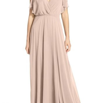 Jenny Yoo 'Cassie' Flutter Sleeve Chiffon A-Line Gown | Nordstrom