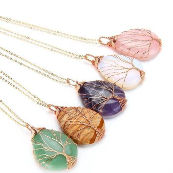 Tree of Life Opal Stone Wrapped Drop Shaped Crystal Pendant Necklace