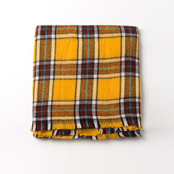 Yellow Tartan Plaid Scarf
