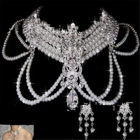 """18"""" crystal faux pearl dangle choker layered necklace clip on earrings bridal prom"""