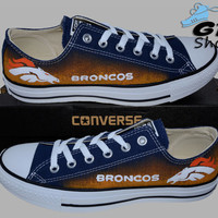 Hand Painted Converse Low. Denver Broncos. Football. Colorado. Superbowl. Handpainted Shoes.