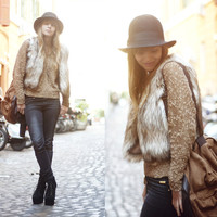 Khaki White Faux Fur Vest Coat