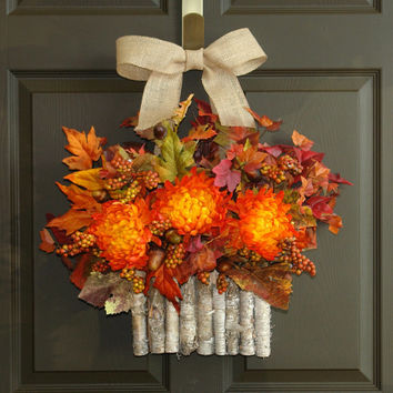 fall wreaths autumn wreaths fall leaves wreath Halloween wreaths front door wreath hanging decor birch bark vase wreaths