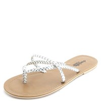 METALLIC BRAIDED STRAPPY THONG SANDALS