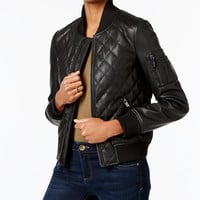 French Connection Faux-Leather Quilted Bomber Jacket - Jackets - Women - Macy's