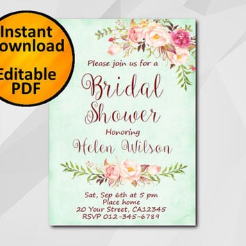 Editable Bridal Shower Invitation, Watercolor turquoise, Instant Download diy wedding, etsy Bridal Shower invitation XB302t-4