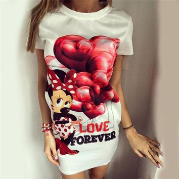 Hot Sale Women's Fashion Balloon Butterfly Mouse Print One Piece Dress [4956091844]