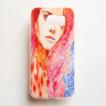 Samsung Galaxy S6 Case Painting Lady S6 Soft Case Triangle Watercolor Galaxy S6 Back Cover