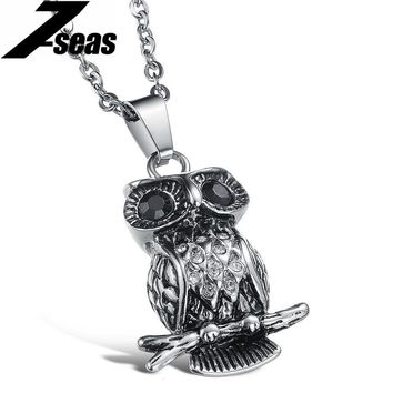 Fashion Owl Shape Design  Men Jewelry Necklace Overlord 316L Stainless Steel + Black Crystal Rhinestone Necklace & Pendant,JM902