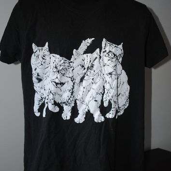 80's Puffy Paint 2 Sided Cats Screen Stars T-Shirt - XL