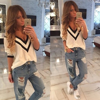 Summer Style New Fashion Shirt Women Long Sleeves V-Neck Top Selling Blouses = 5658041089