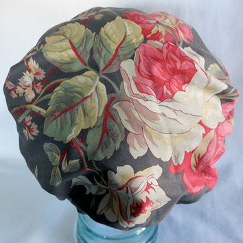 Waterproof Shower Cap - Vintage Shabby Chic Floral Flowers Satin Sleep Bonnet - Rockabilly Bath and Beauty Hat - White Pink Red Mocha