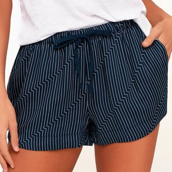 Vary Yume Navy Blue and White Striped Shorts