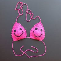 Bright Pink Smiley Face 100% Cotton Crochet Adjustable String Bikini Top