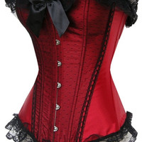 Women Sexy Red Lace Corset Bustier Bodyshaper Corselet Burlesque Body Shaper Lingeris = 1930129668