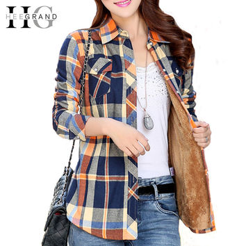 HEE GRAND Winter Woman Cotton Lining Thick Shirt 2016 Casual Full Sleeve Stand Collar Loose Fleece Women Tops WCL833