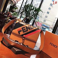 Fendi Women New Fashion More Letter Print Contrast Color Leather High Quality Crossbody Shoulder Bag