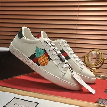 GUCCI 2018 new style brand wild embroidery men and women models white shoes