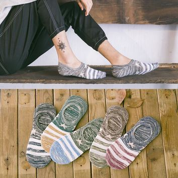 Summer girl Silica Gel Invisible women Stars Cotton SocksLow Low Cut Ankle Sock boy boat casual slippers 1pair=2pcs WS118