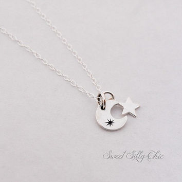 Sterling Silver Moon and Star Tiny Charm Necklace, Moon and Star Jewelry, Short Tiny Charm Necklace, Celestial Jewelry