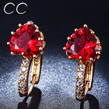 2017 Ruby Red Heart Stud Earrings