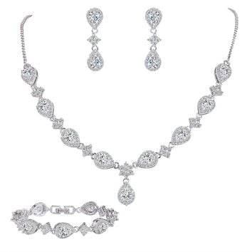 EleQueen Women's Silver-tone Cubic Zirconia Teardrop Flower Bridal V-Necklace Set Tennis Bracelet Dangle Earrings