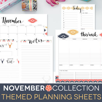 November Planner Kit, Calendars, Printable Organization Documents, Month Week Plan, Daily Docket, Memory Verse Cards, Notes, Calligraphy