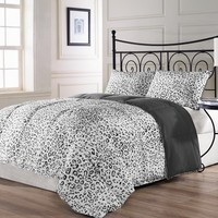 SNOW LEOPARD 3 Piece KING Reversible Down Alternative Bed Cover