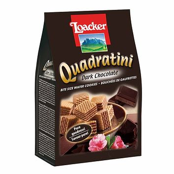 Quadratini Large Dark Chocolate Wafer Cookies by Loacker 8.8 oz