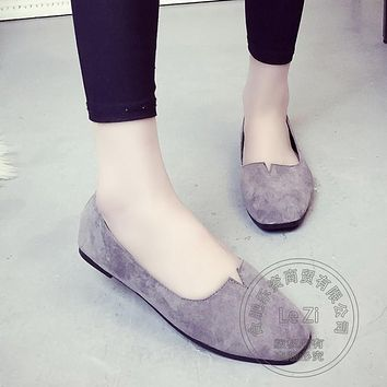 Solid Color Closed Toe Flat Shoes Women Shallow Mouth Slipon Shoes Plain Soft Leather Soft Soled Wrap Heels Suede Driving Shoes