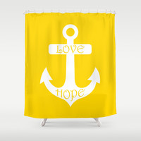 Love Hope Anchor Freesia Yellow Shower Curtain by BeautifulHomes | Society6