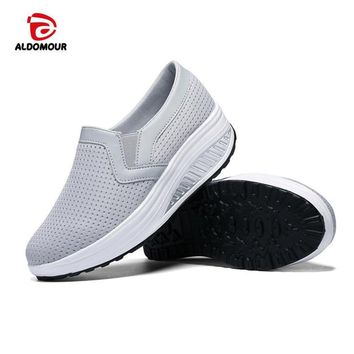ALDOMOUR Fitness Shoes Women Sport For Women Swing Wedges Platform Zapatos Mujer Mesh Trainers Tenis Feminino Toning Shoes 1608