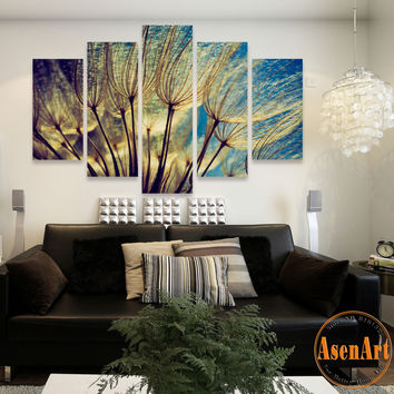 5 Panel Canvas Art Flower Dandelion Painting Canvas Prints Wall Art Pictures for Living Room Modern Home Decor Unframed