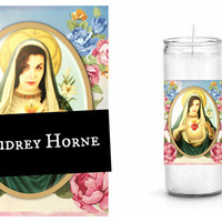 Audrey Horne Prayer Candle - Twin Peaks - White Unscented Candle - St. Audrey Horne