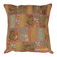 "20"" Inch Multicolor Vintage Indian Vintage Patchwork Toss Pillow Case"