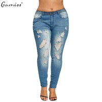 Gamiss Women Plus Size Slim Fitted Ripped Jeans Female Sexy Distressed Blue Denim Pencil Pants Calca Feminina Mid Waist Trousers
