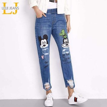 LEIJI JEANS 2018 For Women With Distressed Mikey Mouse Printed Loose Straight Ripped Casual Style Plus Size Spring Autumn 6100